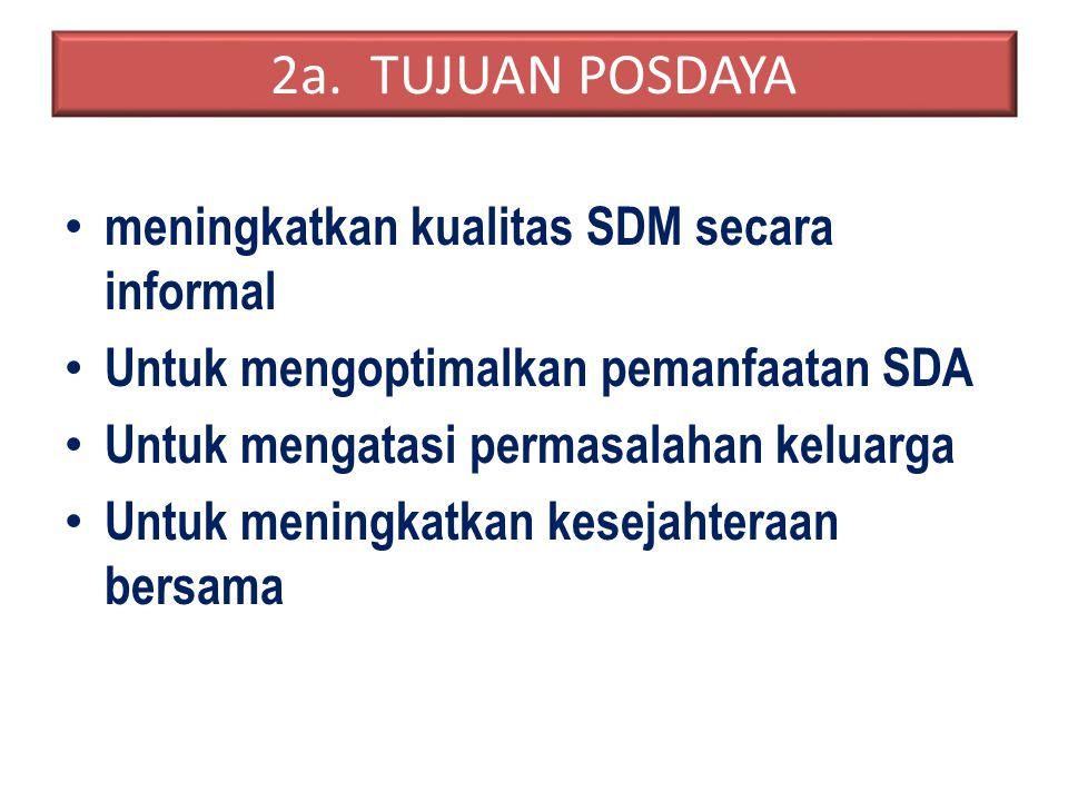2a. TUJUAN POSDAYA meningkatkan kualitas SDM secara informal Untuk mengoptimalkan pemanfaatan SDA Untuk mengatasi permasalahan keluarga Untuk meningka