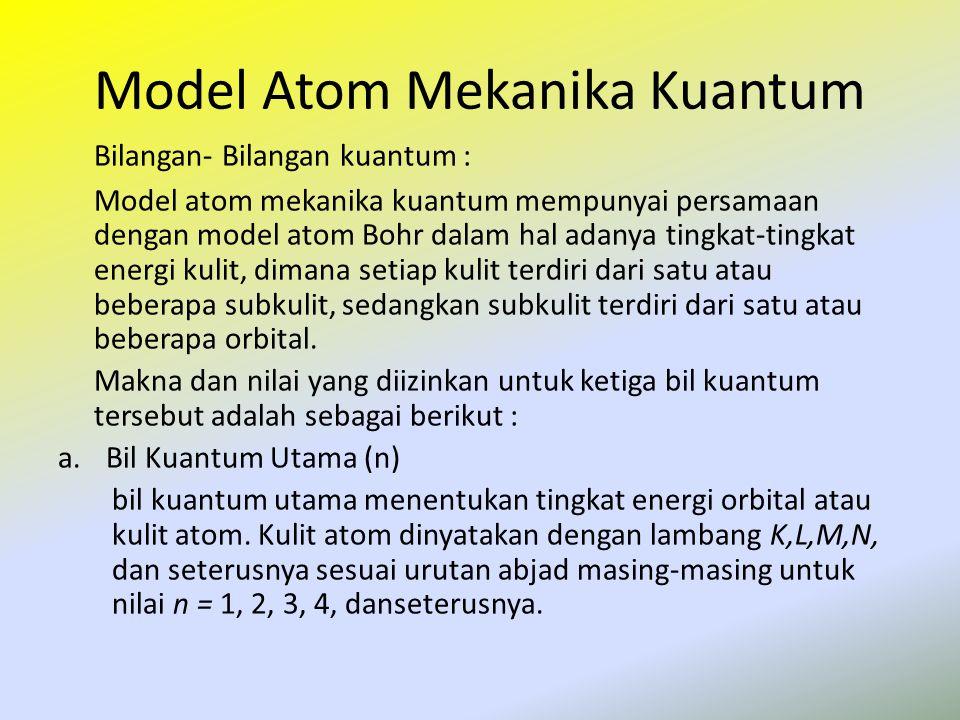 Model Atom Mekanika Kuantum Bilangan- Bilangan kuantum : Model atom mekanika kuantum mempunyai persamaan dengan model atom Bohr dalam hal adanya tingk