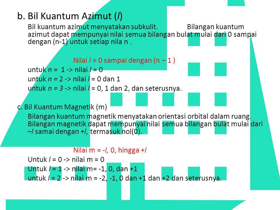 b. Bil Kuantum Azimut (l) Bil kuantum azimut menyatakan subkulit. Bilangan kuantum azimut dapat mempunyai nilai semua bilangan bulat mulai dari 0 samp
