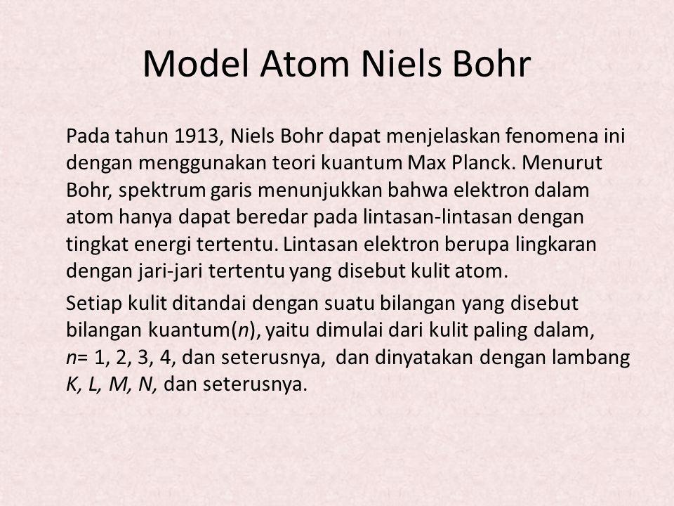 Model Atom Niels Bohr Pada tahun 1913, Niels Bohr dapat menjelaskan fenomena ini dengan menggunakan teori kuantum Max Planck. Menurut Bohr, spektrum g