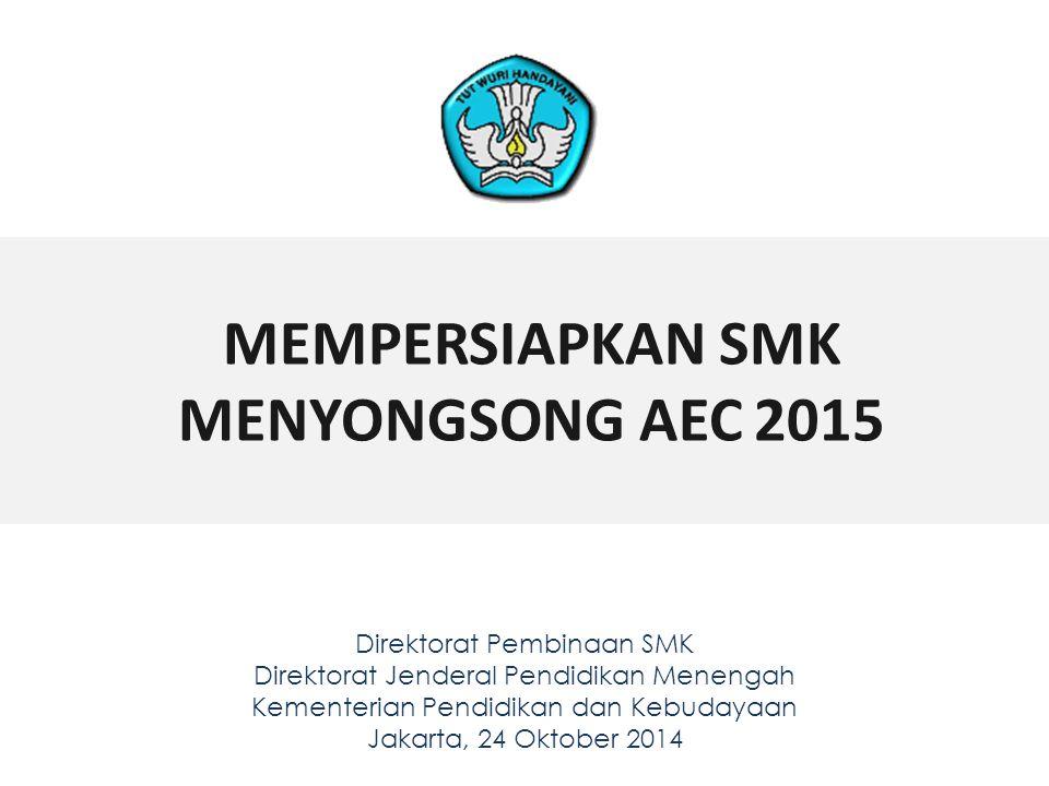 MEMPERSIAPKAN SMK MENYONGSONG AEC 2015 Direktorat Pembinaan SMK Direktorat Jenderal Pendidikan Menengah Kementerian Pendidikan dan Kebudayaan Jakarta,