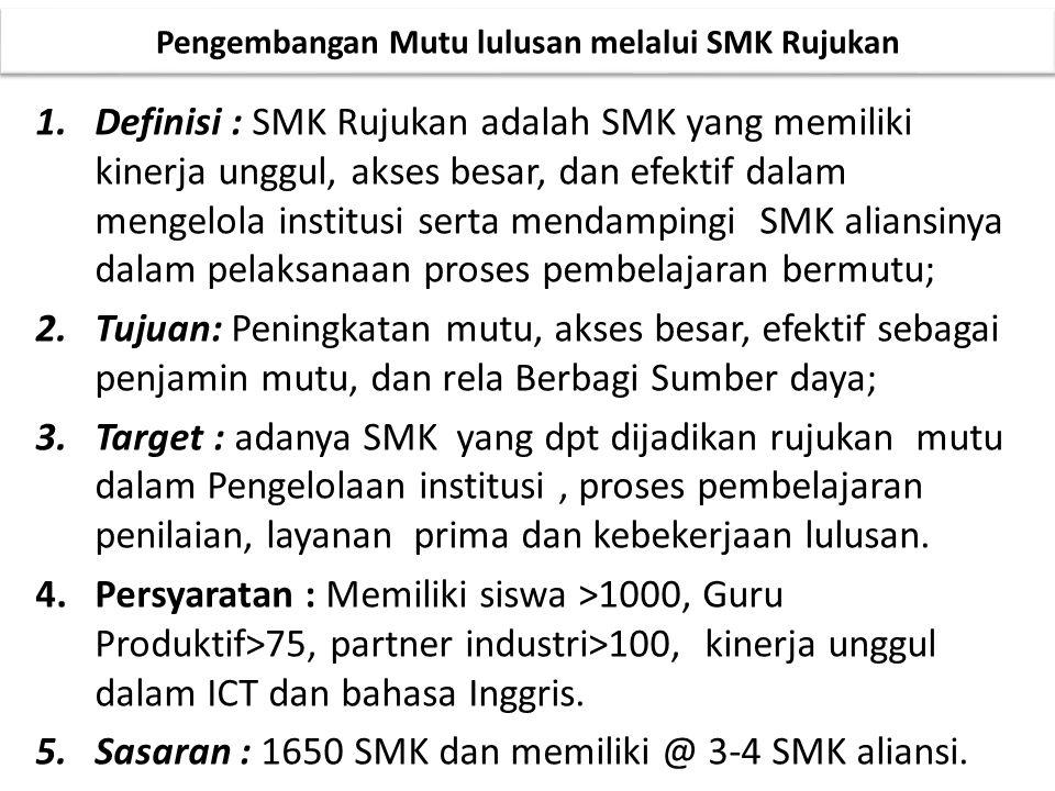 1.Definisi : SMK Rujukan adalah SMK yang memiliki kinerja unggul, akses besar, dan efektif dalam mengelola institusi serta mendampingi SMK aliansinya
