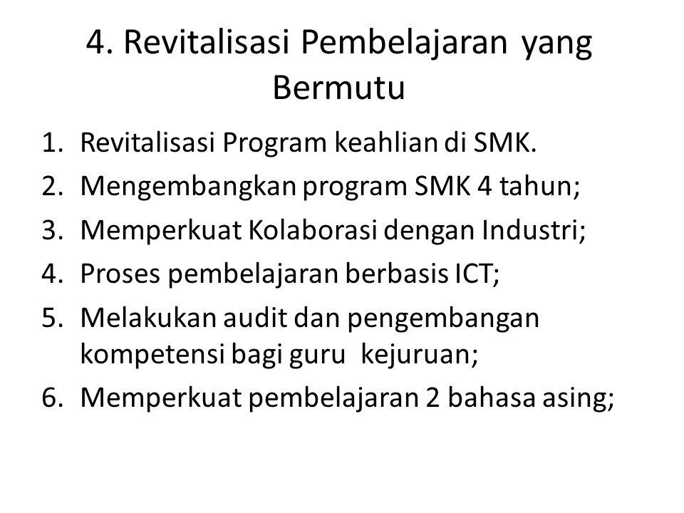 4. Revitalisasi Pembelajaran yang Bermutu 1.Revitalisasi Program keahlian di SMK. 2.Mengembangkan program SMK 4 tahun; 3.Memperkuat Kolaborasi dengan