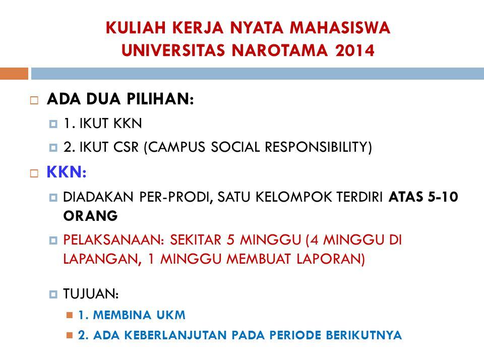 KULIAH KERJA NYATA MAHASISWA UNIVERSITAS NAROTAMA 2014  ADA DUA PILIHAN:  1. IKUT KKN  2. IKUT CSR (CAMPUS SOCIAL RESPONSIBILITY)  KKN:  DIADAKAN