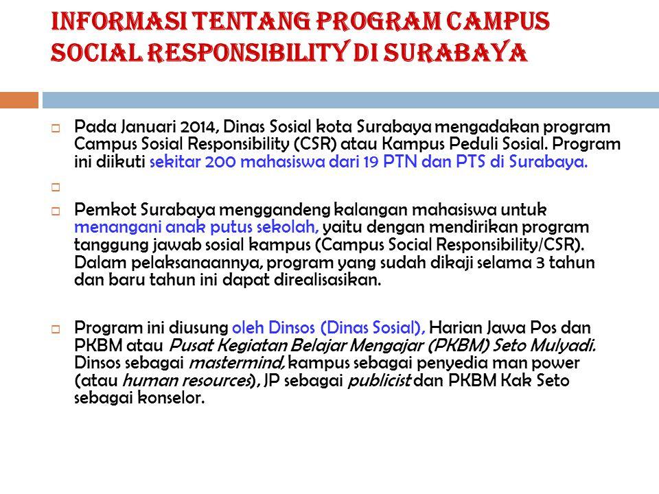 Informasi tentang Program Campus Social Responsibility Di Surabaya  Pada Januari 2014, Dinas Sosial kota Surabaya mengadakan program Campus Sosial Re