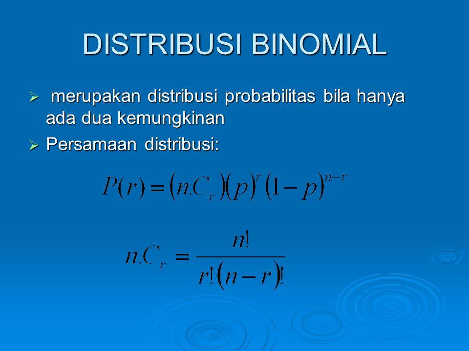 DISTRIBUSI BINOMIAL  merupakan distribusi probabilitas bila hanya ada dua kemungkinan  Persamaan distribusi: