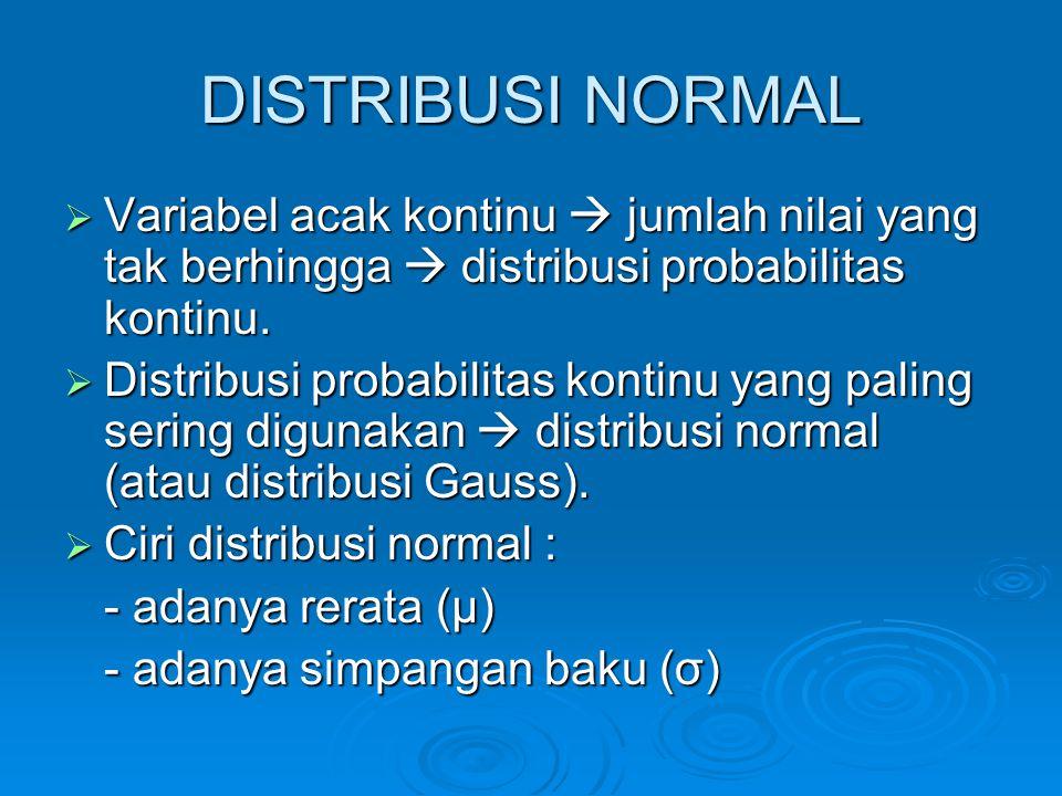 DISTRIBUSI NORMAL  Variabel acak kontinu  jumlah nilai yang tak berhingga  distribusi probabilitas kontinu.  Distribusi probabilitas kontinu yang