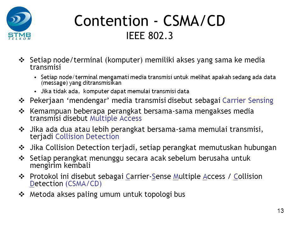 13 Contention - CSMA/CD IEEE 802.3  Setiap node/terminal (komputer) memiliki akses yang sama ke media transmisi Setiap node/terminal mengamati media transmisi untuk melihat apakah sedang ada data (message) yang ditransmisikan Jika tidak ada, komputer dapat memulai transmisi data  Pekerjaan 'mendengar' media transmisi disebut sebagai Carrier Sensing  Kemampuan beberapa perangkat bersama-sama mengakses media transmisi disebut Multiple Access  Jika ada dua atau lebih perangkat bersama-sama memulai transmisi, terjadi Collision Detection  Jika Collision Detection terjadi, setiap perangkat memutuskan hubungan  Setiap perangkat menunggu secara acak sebelum berusaha untuk mengirim kembali  Protokol ini disebut sebagai Carrier-Sense Multiple Access / Collision Detection (CSMA/CD)  Metoda akses paling umum untuk topologi bus