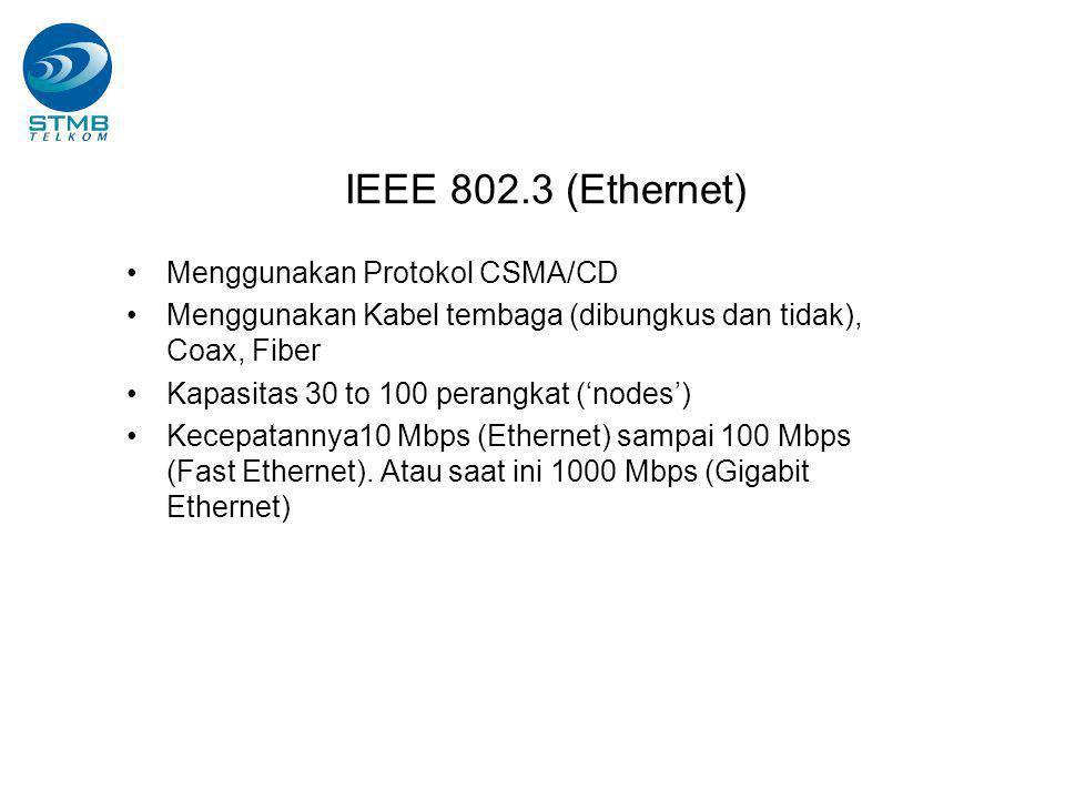 IEEE 802.3 (Ethernet) Menggunakan Protokol CSMA/CD Menggunakan Kabel tembaga (dibungkus dan tidak), Coax, Fiber Kapasitas 30 to 100 perangkat ('nodes') Kecepatannya10 Mbps (Ethernet) sampai 100 Mbps (Fast Ethernet).