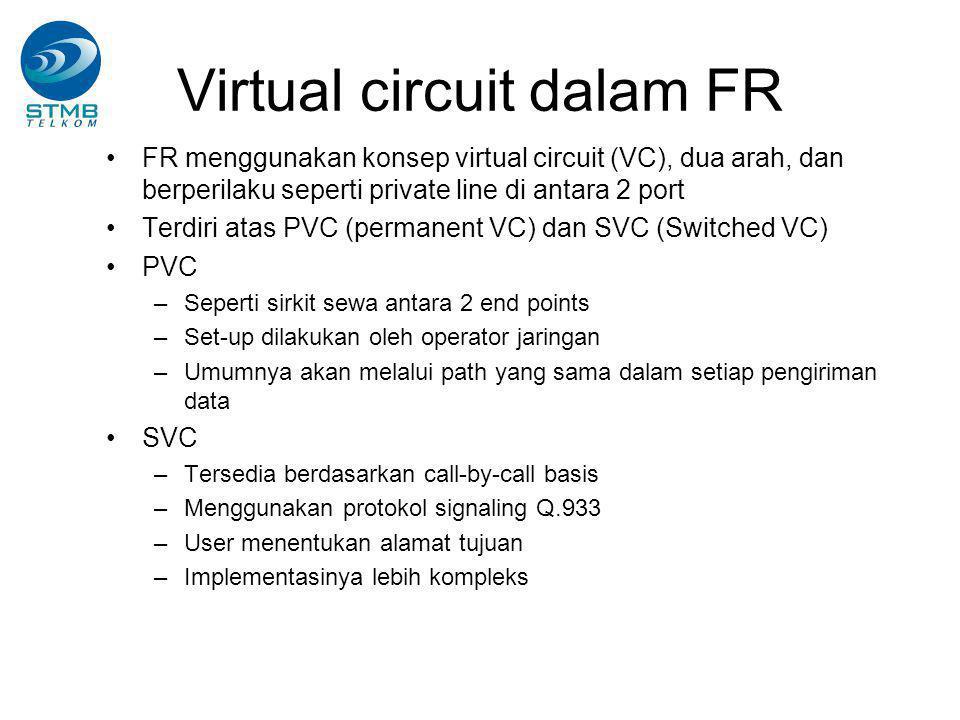Virtual circuit dalam FR FR menggunakan konsep virtual circuit (VC), dua arah, dan berperilaku seperti private line di antara 2 port Terdiri atas PVC (permanent VC) dan SVC (Switched VC) PVC –Seperti sirkit sewa antara 2 end points –Set-up dilakukan oleh operator jaringan –Umumnya akan melalui path yang sama dalam setiap pengiriman data SVC –Tersedia berdasarkan call-by-call basis –Menggunakan protokol signaling Q.933 –User menentukan alamat tujuan –Implementasinya lebih kompleks
