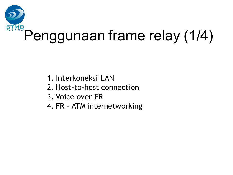 Penggunaan frame relay (1/4) 1.Interkoneksi LAN 2.Host-to-host connection 3.Voice over FR 4.FR – ATM internetworking