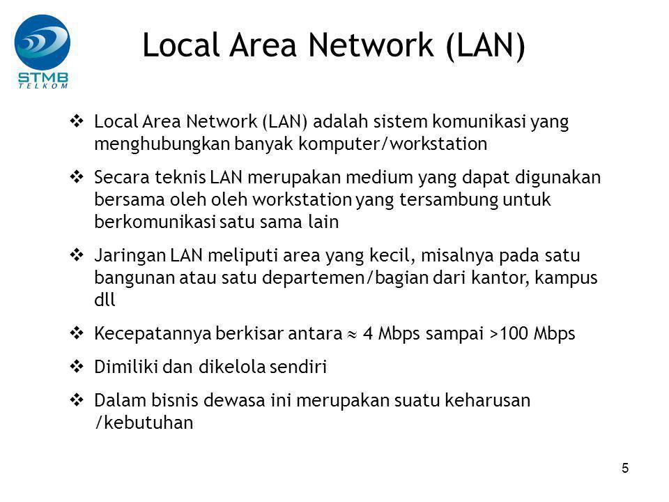 5 Local Area Network (LAN)  Local Area Network (LAN) adalah sistem komunikasi yang menghubungkan banyak komputer/workstation  Secara teknis LAN merupakan medium yang dapat digunakan bersama oleh oleh workstation yang tersambung untuk berkomunikasi satu sama lain  Jaringan LAN meliputi area yang kecil, misalnya pada satu bangunan atau satu departemen/bagian dari kantor, kampus dll  Kecepatannya berkisar antara  4 Mbps sampai >100 Mbps  Dimiliki dan dikelola sendiri  Dalam bisnis dewasa ini merupakan suatu keharusan /kebutuhan