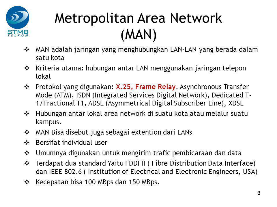 19  Router merupakan packet switches yang menghubungkan dua network  IP adrress paket yang diterima dichek dalam routing table Jika ada dalam tabel  paket diteruskan ke network yang bersangkutan Jika tidak ada dalam tabel  paket diteruskan ke router pada network yang hirarkinya lebih tinggi  Hal yang sama dilakukan oleh router pada hirarki network yang lebih tinggi  Pencarian IP address terakhir dilakukan oleh router pada NSP backbone Router