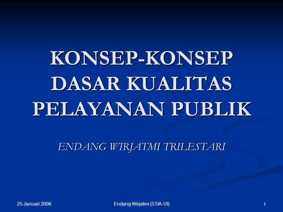 25 Januari 2006 11Endang Wirjatmi (STIA-UI) PRINSIP-PRINSIP PELAYANAN PUBLIK Kesederhanaan, Kejelasan, Kepastian Waktu, Akurasi, Keamanan, Tanggungjawab, Kelengkapan sarana dan prasarana, Kemudahan Akses, Kedisiplinan, Kesopanan dan Keramahan Kenyamanan, (Keputusan Menteri Pendayagunaan Aparatur Negara (MenPAN) Nomor 63/KEP/M.PAN/7/2003,)