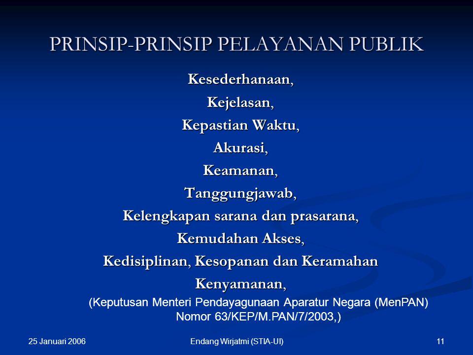 25 Januari 2006 10Endang Wirjatmi (STIA-UI) KLASIFIKASI PELAYANAN PUBLIK Pelayanan Administratif yaitu pelayanan yang menghasilkan berbagai bentuk dok