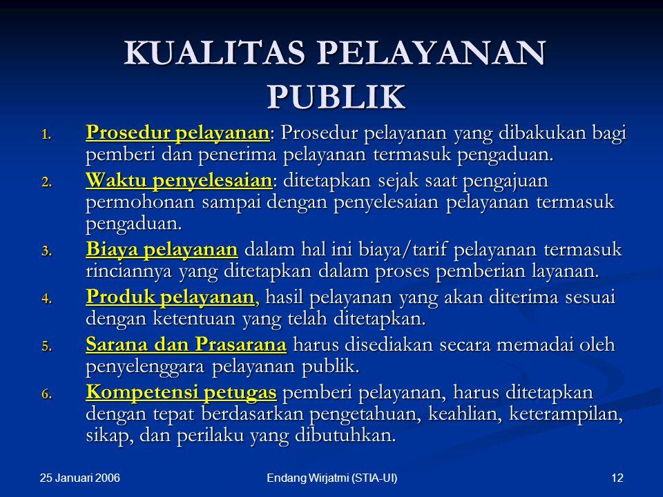 25 Januari 2006 11Endang Wirjatmi (STIA-UI) PRINSIP-PRINSIP PELAYANAN PUBLIK Kesederhanaan, Kejelasan, Kepastian Waktu, Akurasi, Keamanan, Tanggungjaw