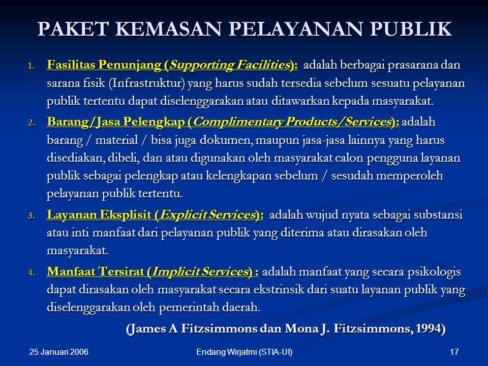 25 Januari 2006 16Endang Wirjatmi (STIA-UI) 5. Melaksanakan perbaikan mutu pelayanan publik: menciptakan standar pelayanan umum; diupayakan dengan: a.