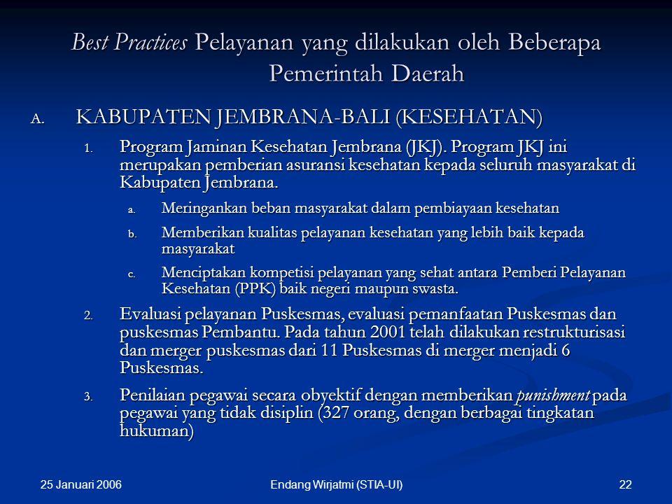 25 Januari 2006 21Endang Wirjatmi (STIA-UI) Best Practices Pelayanan yang dilakukan oleh Beberapa Pemerintah Daerah A. KABUPATEN JEMBRANA-BALI (PENDID