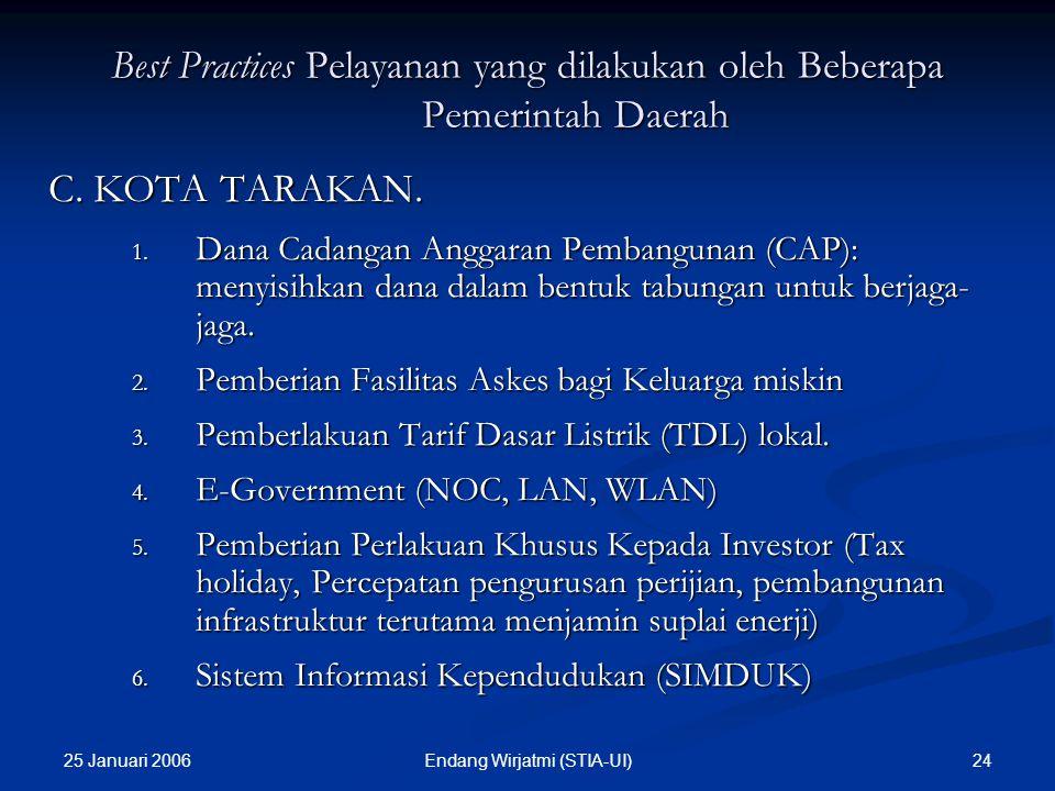 25 Januari 2006 23Endang Wirjatmi (STIA-UI) Best Practices Pelayanan yang dilakukan oleh Beberapa Pemerintah Daerah B. KABUPATEN TANAH DATAR. 1. KESEH