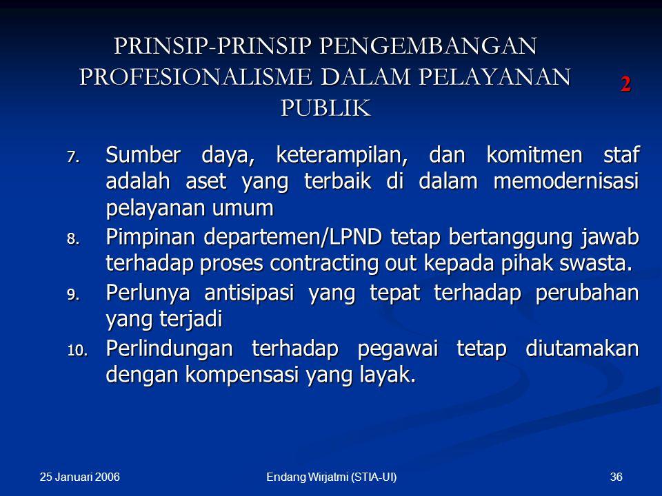 25 Januari 2006 35Endang Wirjatmi (STIA-UI) PRINSIP-PRINSIP PENGEMBANGAN PROFESIONALISME DALAM PELAYANAN PUBLIK 1. Mengembangkan modernisasi, kualitas