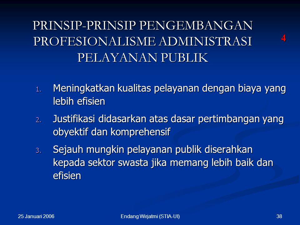 25 Januari 2006 37Endang Wirjatmi (STIA-UI) PRINSIP-PRINSIP PENGEMBANGAN PROFESIONALISME DALAM PELAYANAN PUBLIK 11. Komunikasi yang efektif dan terus