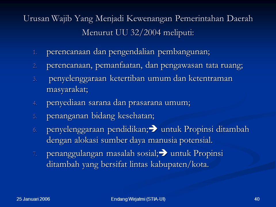 25 Januari 2006 39Endang Wirjatmi (STIA-UI) ANATOMI URUSAN PEMERINTAHAN (Sumber : Bahan Penataran DPRD yang disiapkan oleh Badan Diklat DDN, 2004) ANA