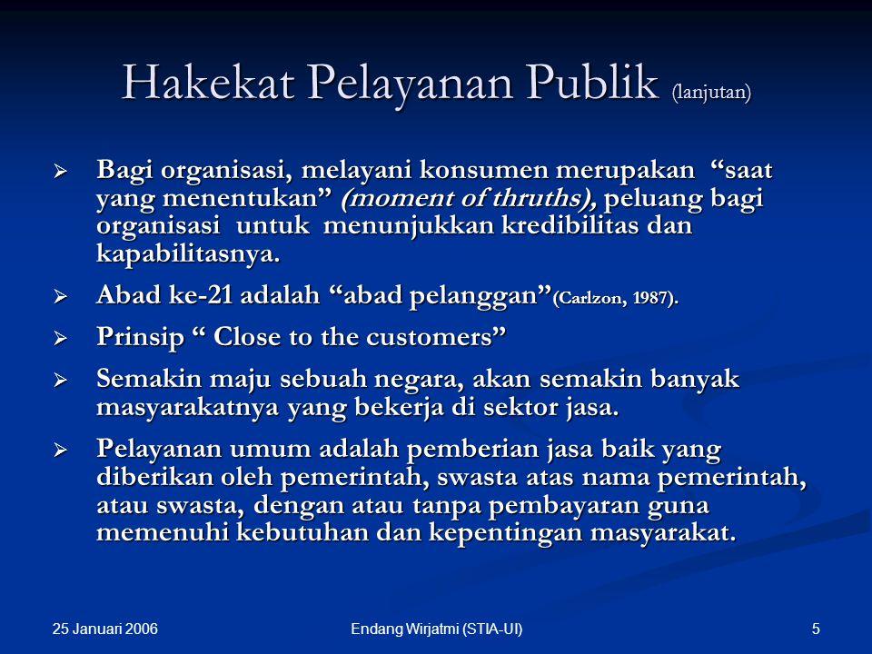 25 Januari 2006 35Endang Wirjatmi (STIA-UI) PRINSIP-PRINSIP PENGEMBANGAN PROFESIONALISME DALAM PELAYANAN PUBLIK 1.