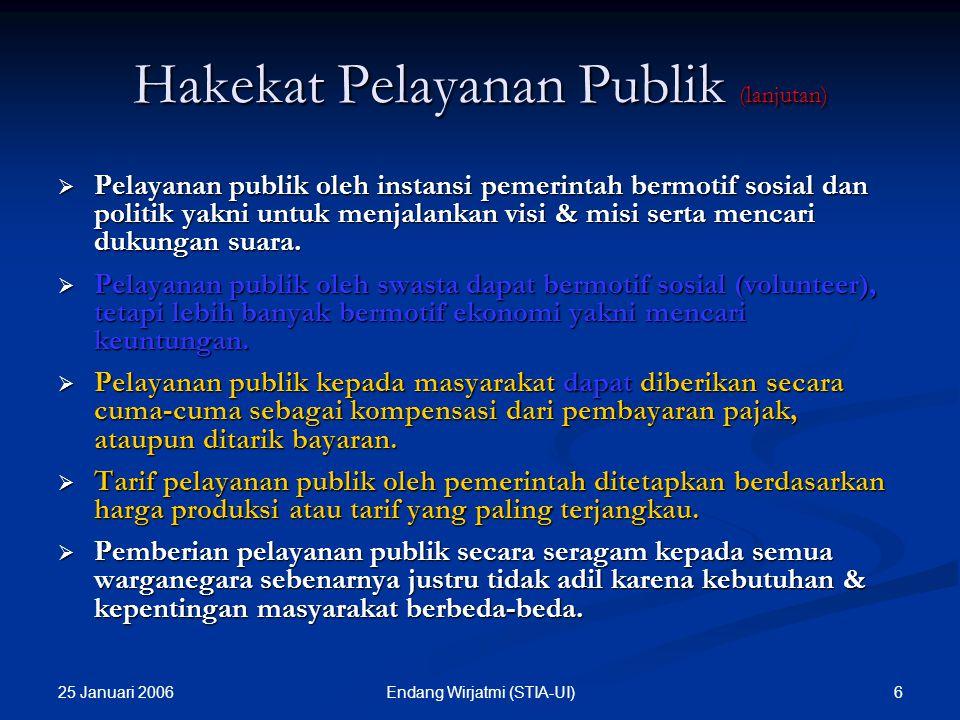 25 Januari 2006 6Endang Wirjatmi (STIA-UI)  Pelayanan publik oleh instansi pemerintah bermotif sosial dan politik yakni untuk menjalankan visi & misi serta mencari dukungan suara.
