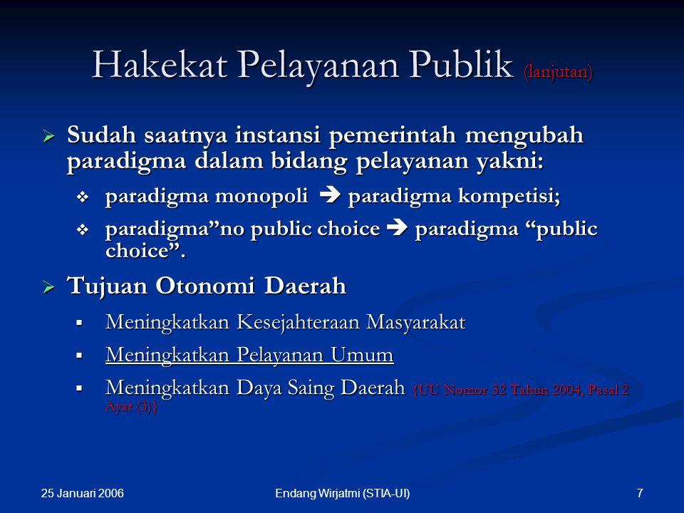 25 Januari 2006 7Endang Wirjatmi (STIA-UI)  Sudah saatnya instansi pemerintah mengubah paradigma dalam bidang pelayanan yakni:  paradigma monopoli  paradigma kompetisi;  paradigma no public choice  paradigma public choice .