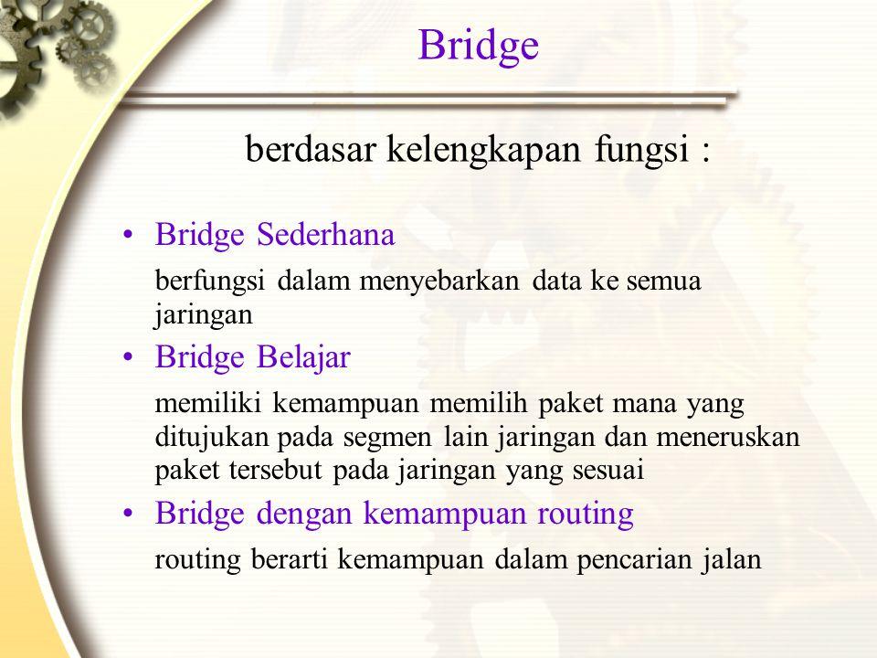 Bridge berdasar kelengkapan fungsi : Bridge Sederhana berfungsi dalam menyebarkan data ke semua jaringan Bridge Belajar memiliki kemampuan memilih paket mana yang ditujukan pada segmen lain jaringan dan meneruskan paket tersebut pada jaringan yang sesuai Bridge dengan kemampuan routing routing berarti kemampuan dalam pencarian jalan