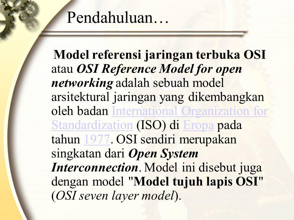 Pendahuluan… Model referensi jaringan terbuka OSI atau OSI Reference Model for open networking adalah sebuah model arsitektural jaringan yang dikembangkan oleh badan International Organization for Standardization (ISO) di Eropa pada tahun 1977.