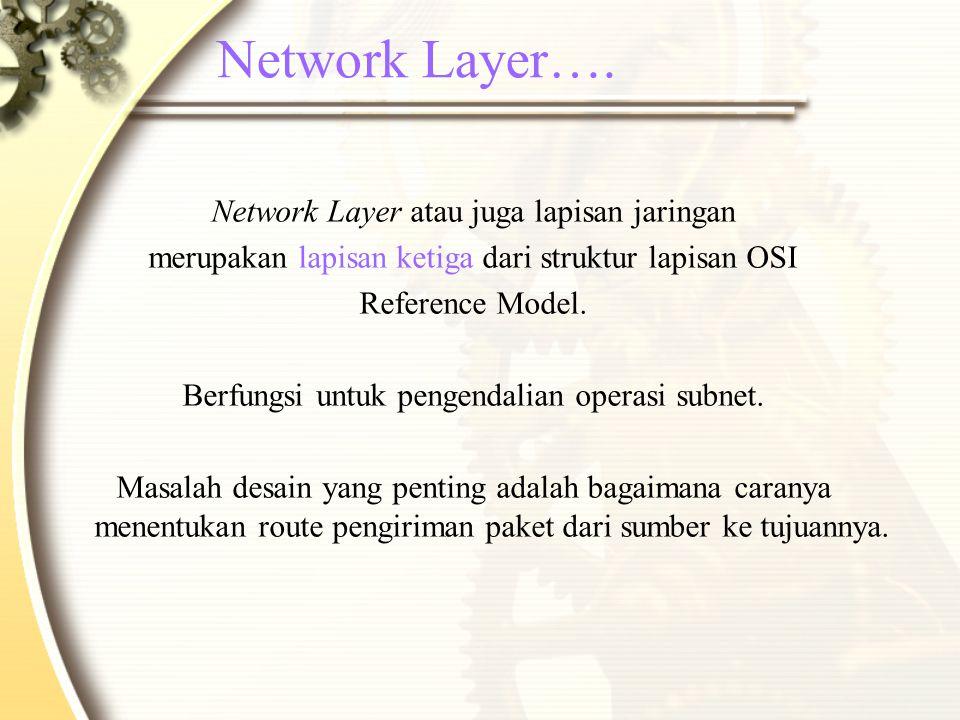 Network Layer…. Network Layer atau juga lapisan jaringan merupakan lapisan ketiga dari struktur lapisan OSI Reference Model. Berfungsi untuk pengendal