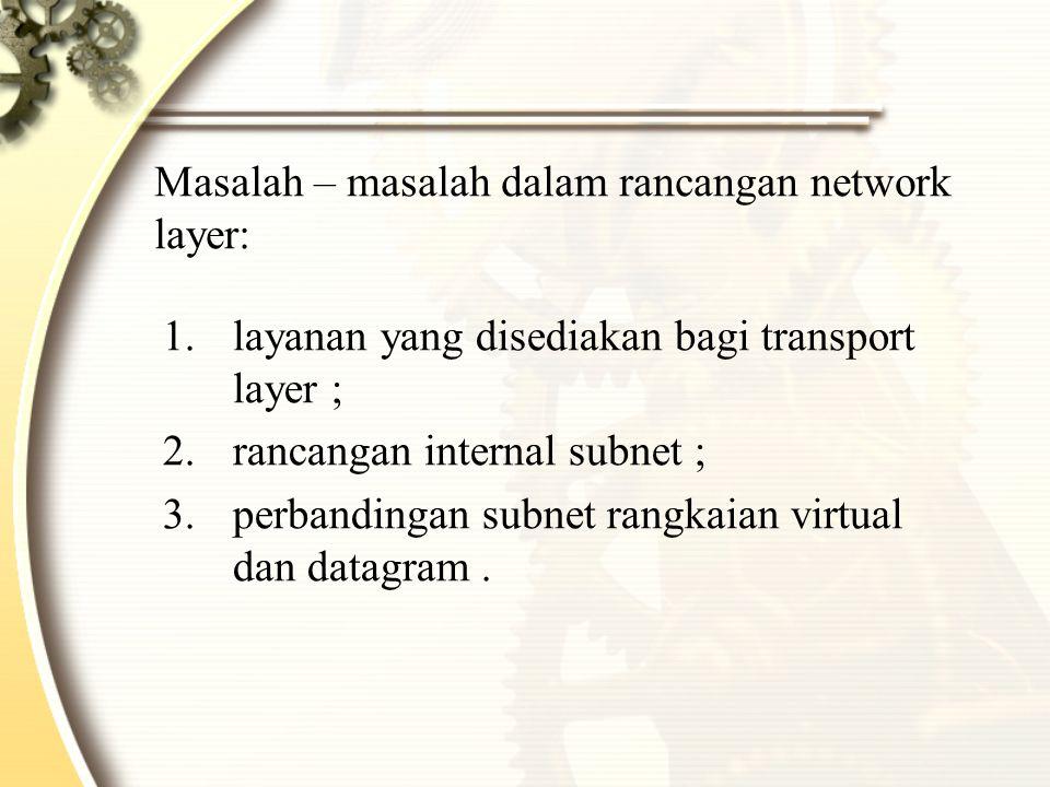 Masalah – masalah dalam rancangan network layer: 1.layanan yang disediakan bagi transport layer ; 2.rancangan internal subnet ; 3.perbandingan subnet rangkaian virtual dan datagram.