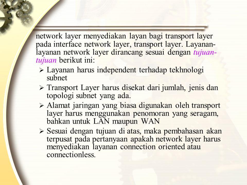 network layer menyediakan layan bagi transport layer pada interface network layer, transport layer.