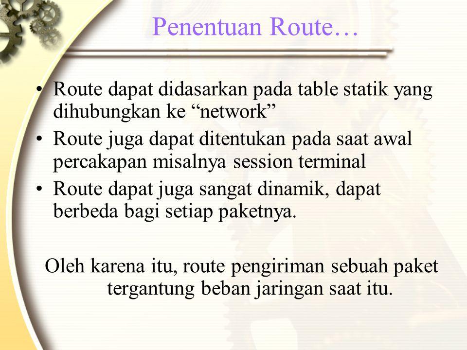 Penentuan Route… Route dapat didasarkan pada table statik yang dihubungkan ke network Route juga dapat ditentukan pada saat awal percakapan misalnya session terminal Route dapat juga sangat dinamik, dapat berbeda bagi setiap paketnya.