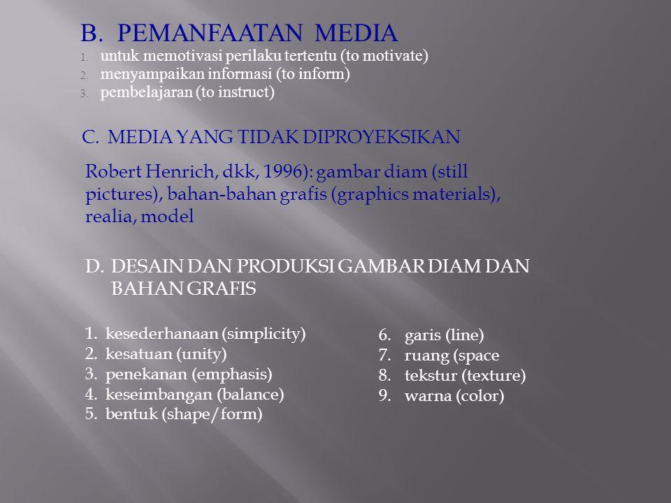 B.PEMANFAATAN MEDIA 1. untuk memotivasi perilaku tertentu (to motivate) 2.