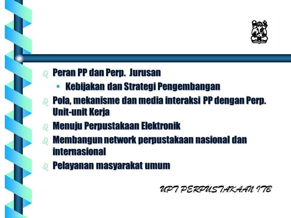 b Peran PP dan Perp. Jurusan Kebijakan dan Strategi PengembanganKebijakan dan Strategi Pengembangan b Pola, mekanisme dan media interaksi PP dengan Pe