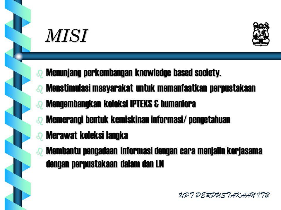 MISI b Menunjang perkembangan knowledge based society. b Menstimulasi masyarakat untuk memanfaatkan perpustakaan b Mengembangkan koleksi IPTEKS & huma
