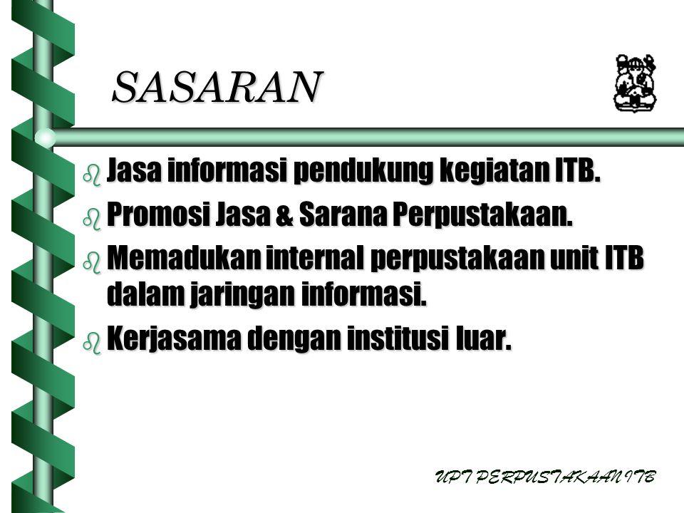 SASARAN b Jasa informasi pendukung kegiatan ITB. b Promosi Jasa & Sarana Perpustakaan. b Memadukan internal perpustakaan unit ITB dalam jaringan infor