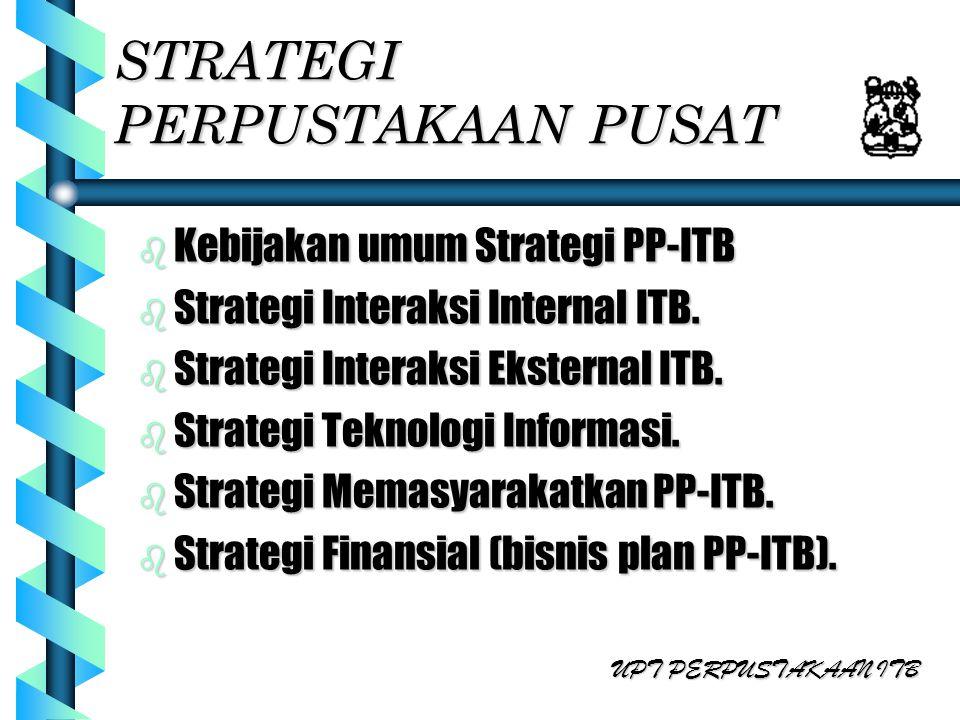 STRATEGI PERPUSTAKAAN PUSAT b Kebijakan umum Strategi PP-ITB b Strategi Interaksi Internal ITB. b Strategi Interaksi Eksternal ITB. b Strategi Teknolo