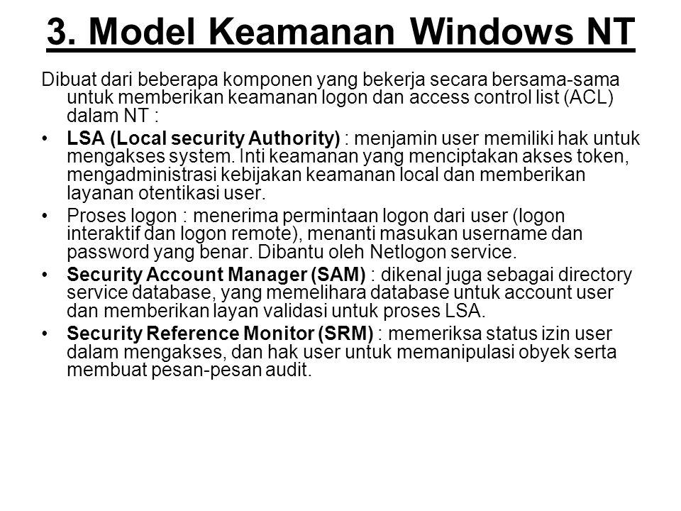 3. Model Keamanan Windows NT Dibuat dari beberapa komponen yang bekerja secara bersama-sama untuk memberikan keamanan logon dan access control list (A