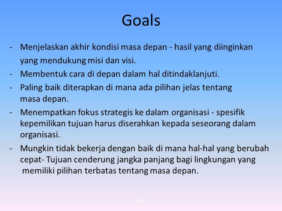 Goals -Menjelaskan akhir kondisi masa depan - hasil yang diinginkan yang mendukung misi dan visi. -Membentuk cara di depan dalam hal ditindaklanjuti.