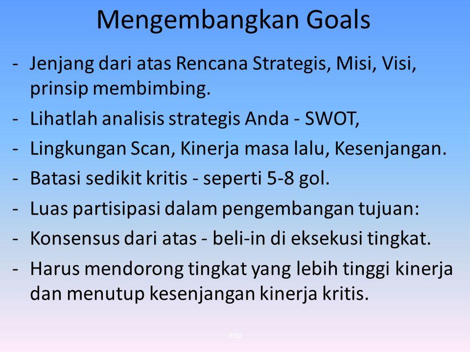 Mengembangkan Goals -Jenjang dari atas Rencana Strategis, Misi, Visi, prinsip membimbing. -Lihatlah analisis strategis Anda - SWOT, -Lingkungan Scan,