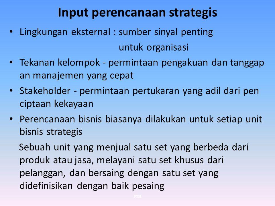 Input perencanaan strategis Lingkungan eksternal : sumber sinyal penting untuk organisasi Tekanan kelompok - permintaan pengakuan dan tanggap an manaj