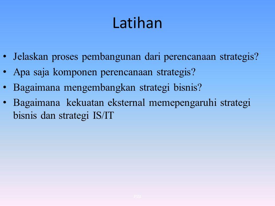 Latihan Jelaskan proses pembangunan dari perencanaan strategis? Apa saja komponen perencanaan strategis? Bagaimana mengembangkan strategi bisnis? Baga