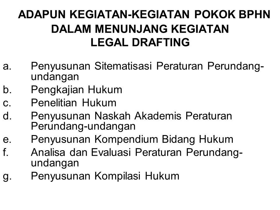 Peraturan Perundang-undangan yang diundangkan dalam Lembaran Negara Republik Indonesia, meliputi: –Undang-Undang/Peraturan Pemerintah Pengganti Undang