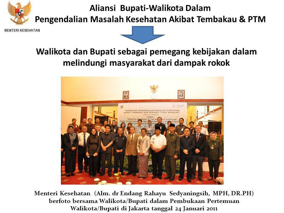 Walikota dan Bupati sebagai pemegang kebijakan dalam melindungi masyarakat dari dampak rokok Menteri Kesehatan (Alm.