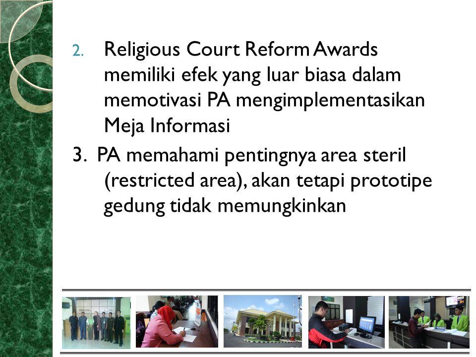 2. Religious Court Reform Awards memiliki efek yang luar biasa dalam memotivasi PA mengimplementasikan Meja Informasi 3. PA memahami pentingnya area s