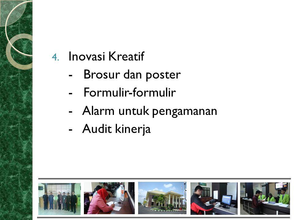 4. Inovasi Kreatif - Brosur dan poster - Formulir-formulir - Alarm untuk pengamanan - Audit kinerja