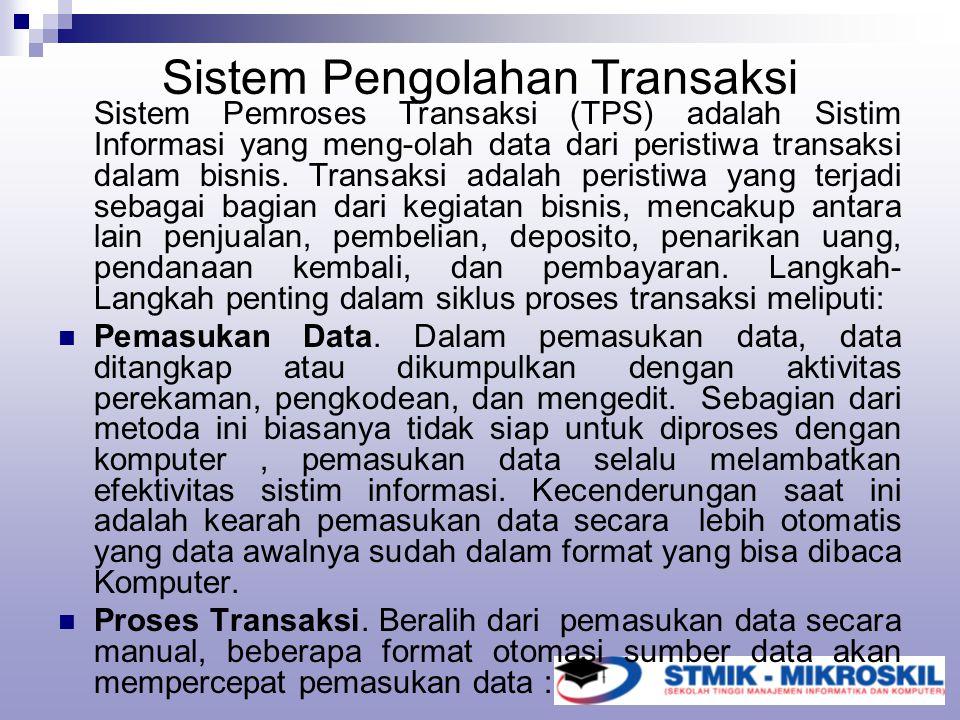 Sistem Pengolahan Transaksi Sistem Pemroses Transaksi (TPS) adalah Sistim Informasi yang meng-olah data dari peristiwa transaksi dalam bisnis. Transak